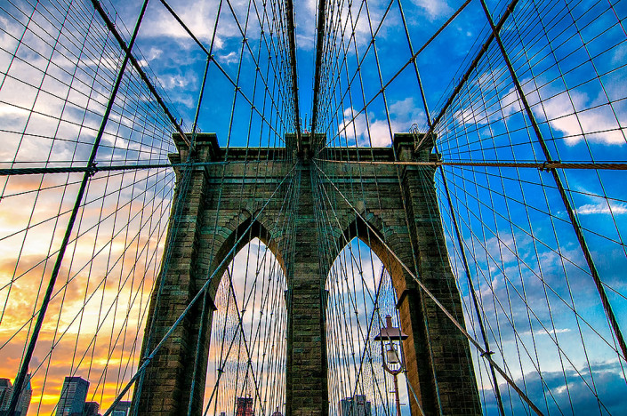 The Brooklyn Bridge at sunset after a storm