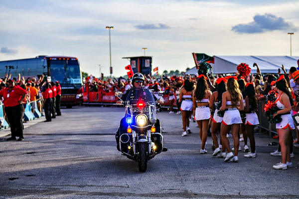 The Florida State team buses get a police escort