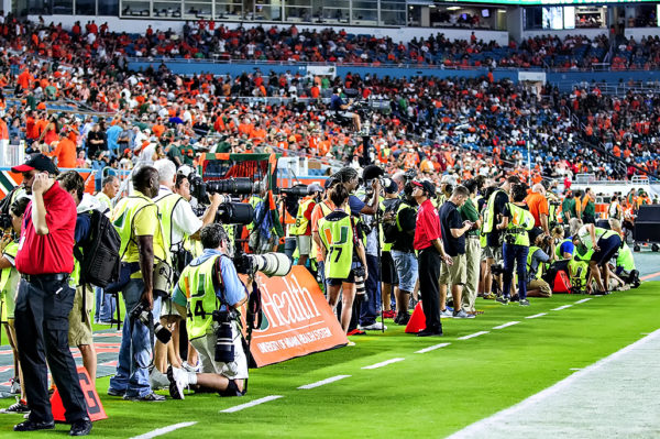 A crazy amount of photographers on the sidelines for the big game
