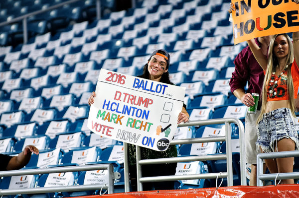 Creative signs by the fans prior to the game