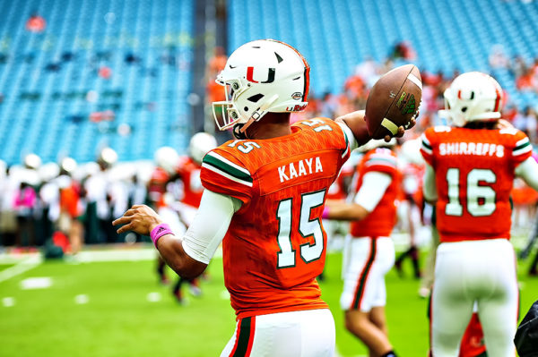 Brad Kaaya warmups before facing the North Carolina Tar Heels