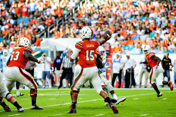 Hurricanes QB, Brad Kaaya, attempts a pass