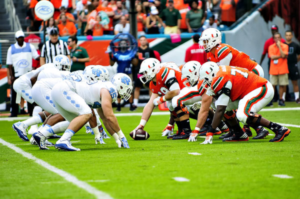 The Miami Hurricanes line up offensively against the North Carolina Tar Heels