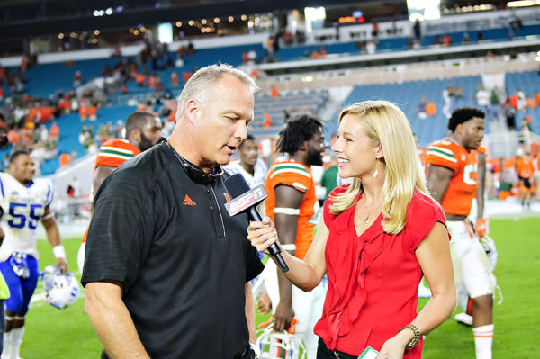 Coach Mark Richt gives an interview to ESPN