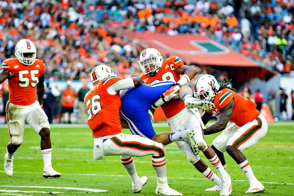 Hurricanes defense tackles Duke TE, David Helm