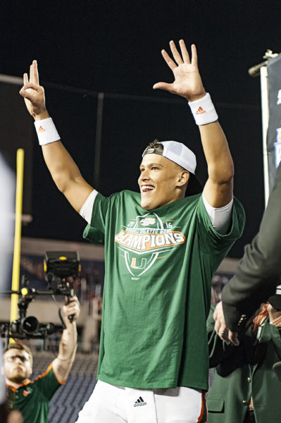 Brad Kaaya celebrates on stage