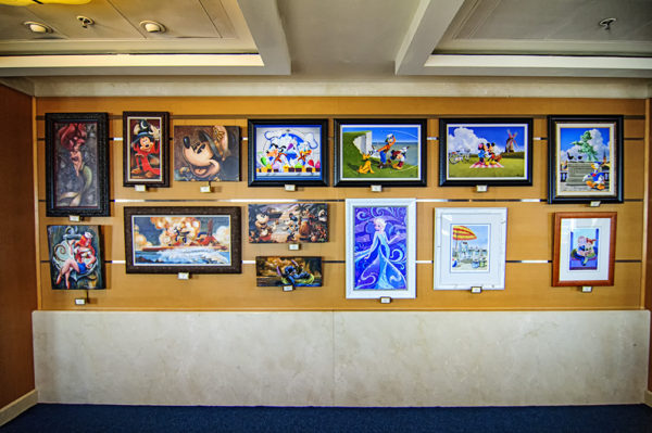 The Disney Magic is adorned with memorabilia and other Disney art work