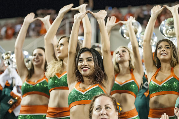 Miami Hurricanes cheerleaders throw up the U