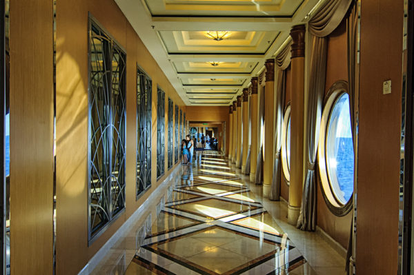 Hallway on the Disney Magic that leads to the ship's restaurants