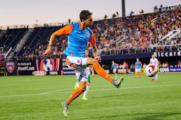 Miami FC forward, Vincenzo Rennella, attempts a shot on goal