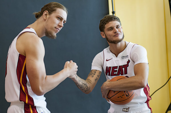 Kelly Olynyk and Tyler Johnson joke around during their photoshoot