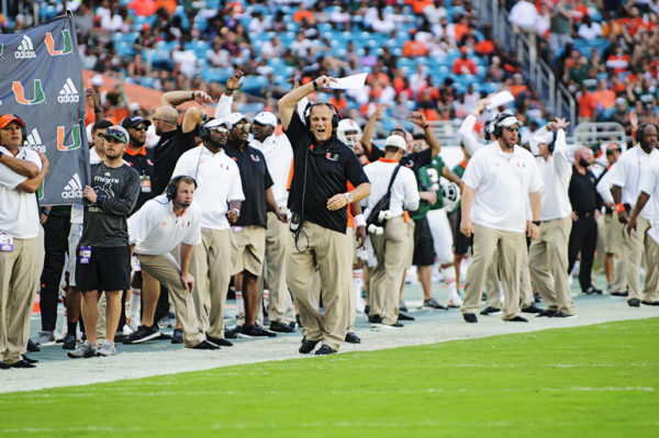 Head Coach Mark Richt tries to get the crowd into during a 3rd down