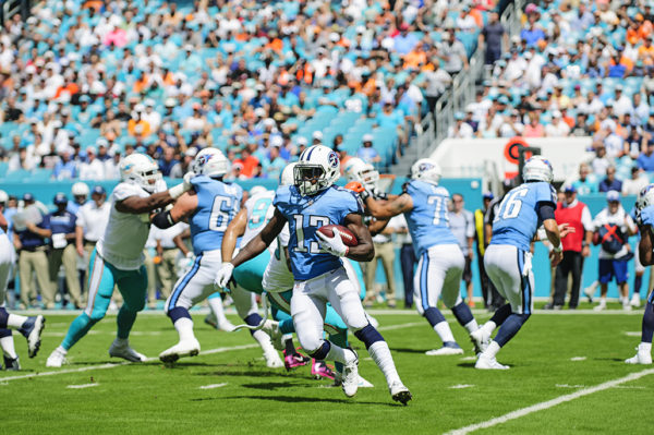 Titans WR, Taywan Taylor, tries to find an opening