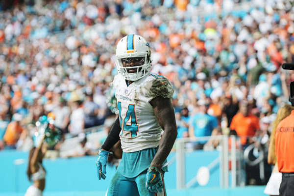 Jarvis Landry stares at the crowd after making a first down
