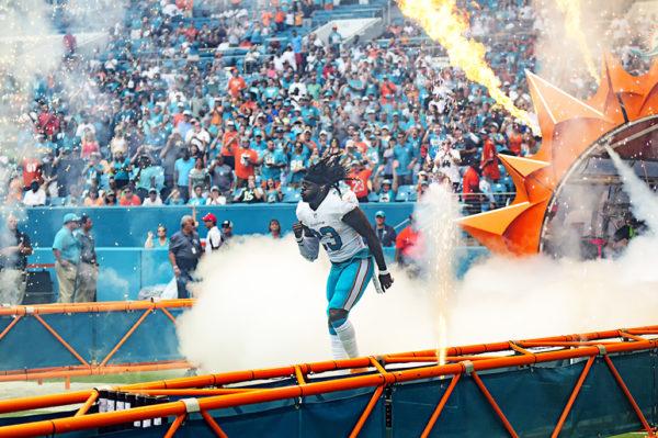 Jay Ajayi runs out of the smoke