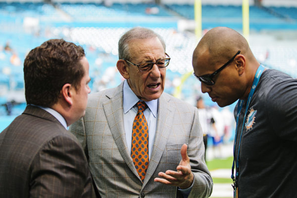 Dolphins owner, Stephen Ross, has a conversation with Dolphin employees