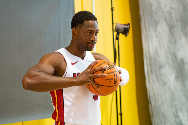 Dwyane Wade poses for his photo