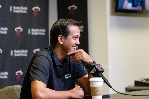 Heat coach Erik Spoelstra was all smiles on heat media day