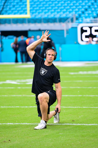 Oakland Raiders wide receiver Jordy Nelson (82) stretches