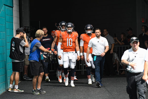 Chicago Bears quarterback Mitchell Trubisky (10) leads the QBs out