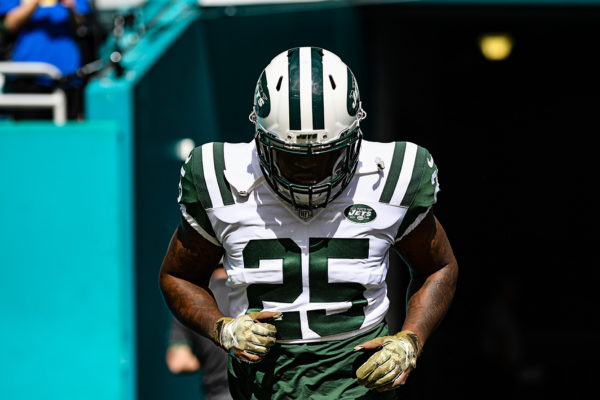 New York Jets running back Elijah McGuire (25) comes out for warmups