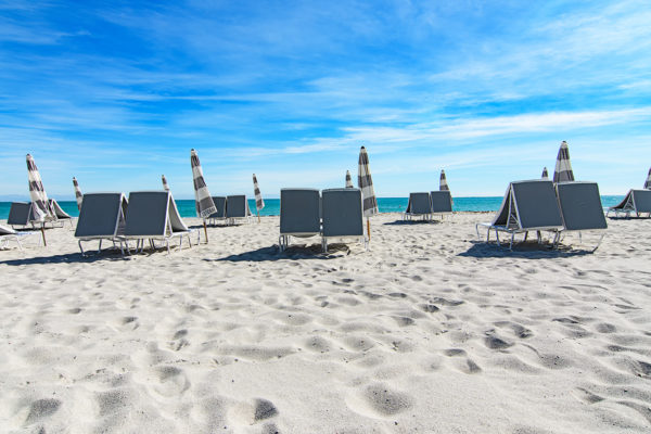 Miami Beach beach chairs and umbrellas