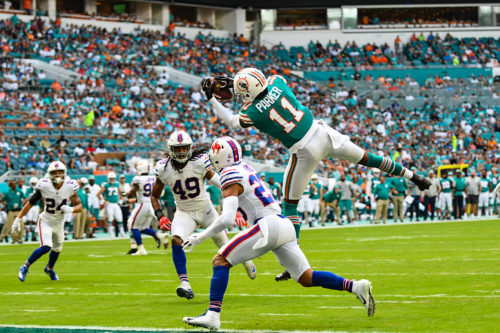 Miami Dolphins wide receiver DeVante Parker (11) hauls in a touchdown pass