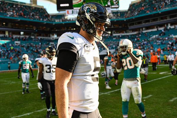 Jacksonville Jaguars quarterback Blake Bortles (5) after the game
