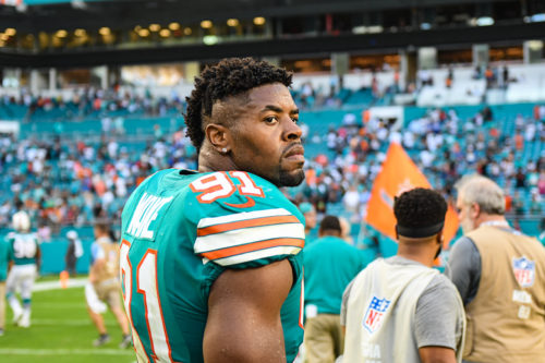Miami Dolphins defensive end Cameron Wake (91) after the game