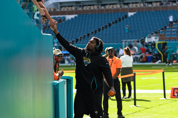 Greeting fans prior to the game