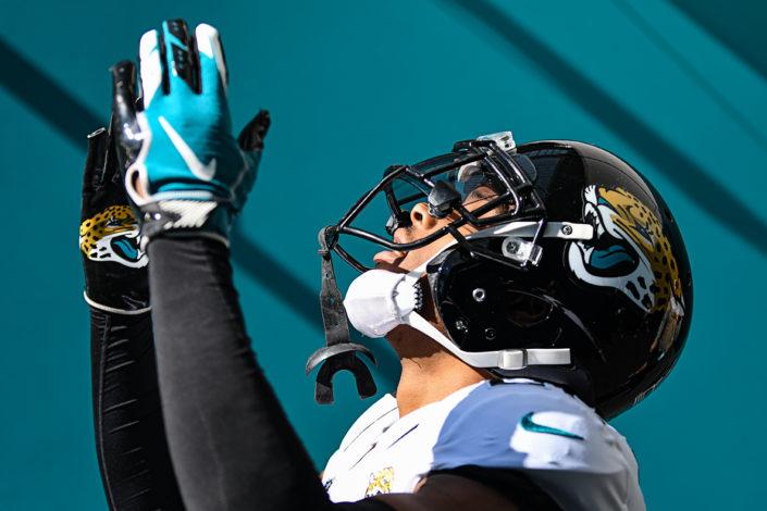 Jacksonville Jaguars cornerback Jalen Ramsey (20) blows a kiss towards the sky