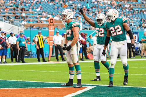 Miami Dolphins outside linebacker Kiko Alonso (47) flexes his muscles after a tackle