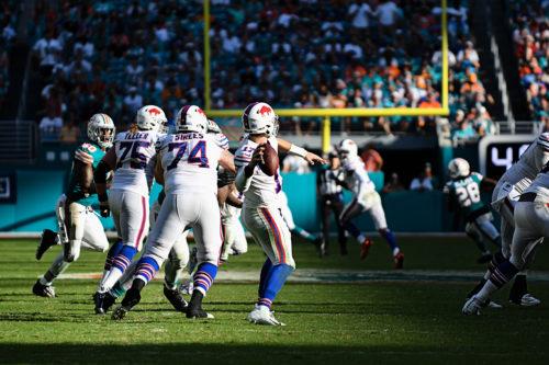 Buffalo Bills quarterback Josh Allen (17) rears back to throw deep