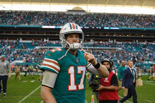 Miami Dolphins quarterback Ryan Tannehill (17) postgame
