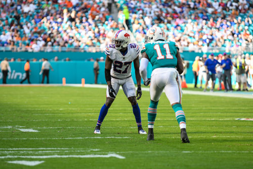 Buffalo Bills cornerback Tre'Davious White (27) lines up against Miami Dolphins wide receiver DeVante Parker (11)