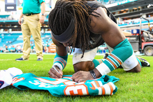 Miami Dolphins defensive back Walt Aikens (35)