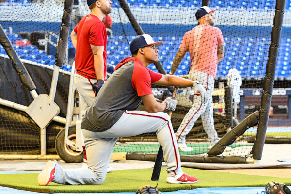 Washington Nationals left fielder Juan Soto #22 watches BP