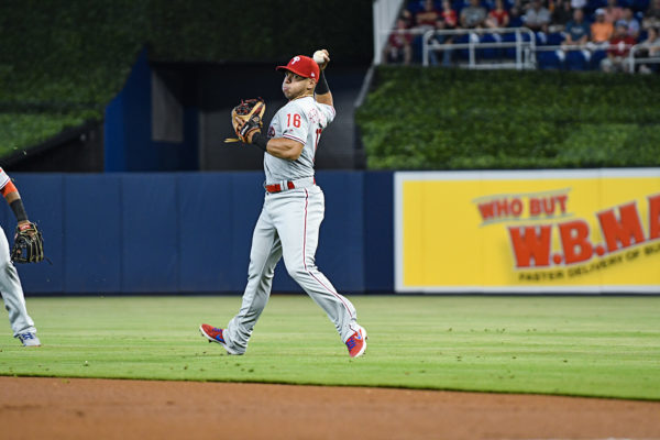 Philadelphia Phillies second baseman Cesar Hernandez (16) makes the throw from the outfield grass