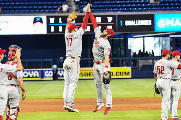 Philadelphia Phillies left fielder Rhys Hoskins (17) and Philadelphia Phillies right fielder Bryce Harper (3) jump to slap hands