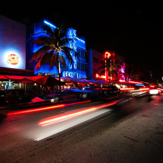 Ocean Drive on South Beach at night