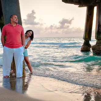 Engagement photo shoot at the Deerfield beach pier