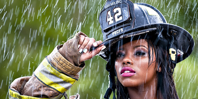 Camille Kaye as a fire fighter