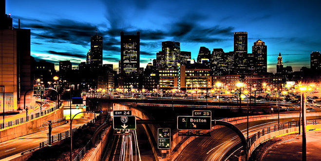 Boston skyline from the Mass Pike